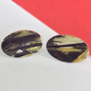 'Acrylic abstract painting' oval stud earrings