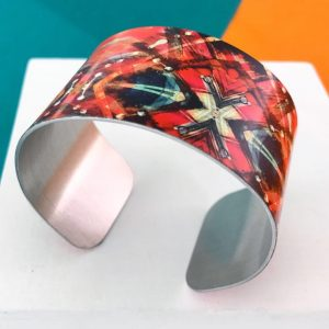 Aluminium Printed 'Red ink abstract Painting' cuff