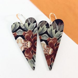 Autumn Floral heart drop earring – Monica Boxley