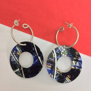 'Blue ink and bleach' open circle hoop earring Monica Boxley
