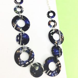 Ink and Bleach Blue Link Necklace – Monica Boxley