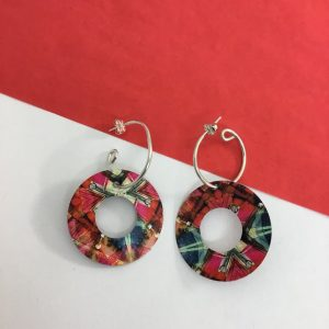 'Red ink and bleach' open circle hoop earring Monica Boxley