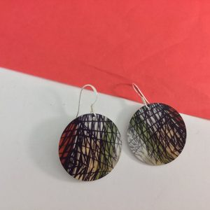 'Vintage Lines' disc drop earrings Monica Boxley